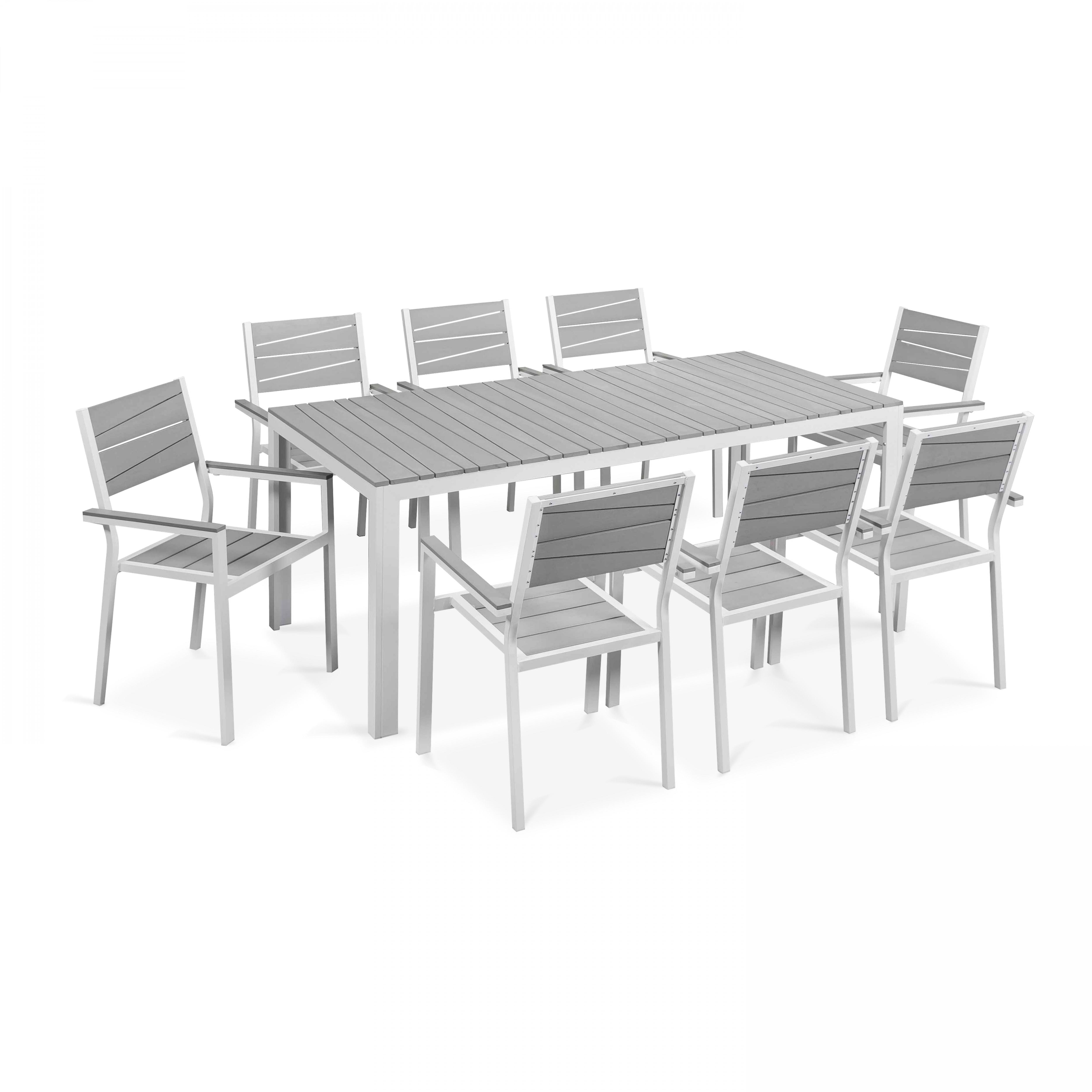 Table de jardin 8 places en aluminium blanc
