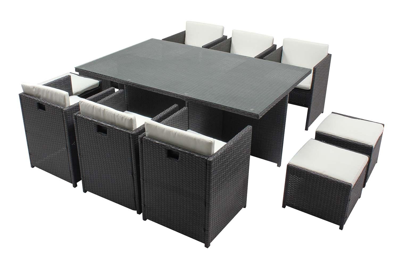Table et chaises 10 places encastrables résine gris/blanc