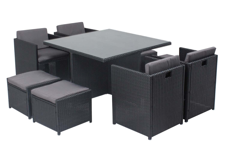 Table et chaises 8 places encastrables en résine noir/gris