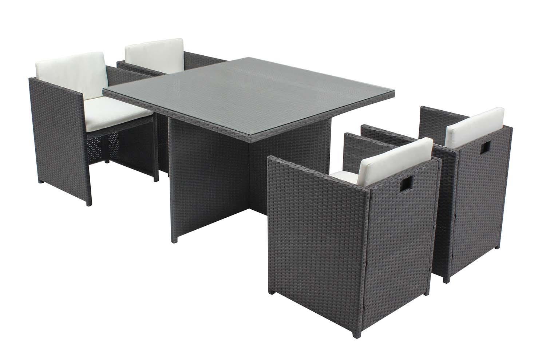 Table et chaises 4 places encastrables en résine gris/blanc