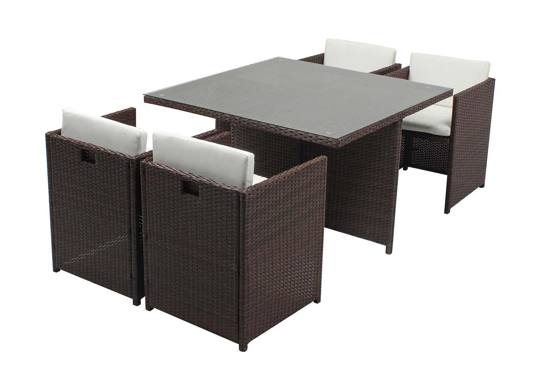 Table et chaises 4 places encastrables résine marron/blanc