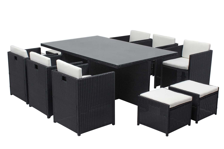 Table et chaises 10 places encastrables résine noir/blanc