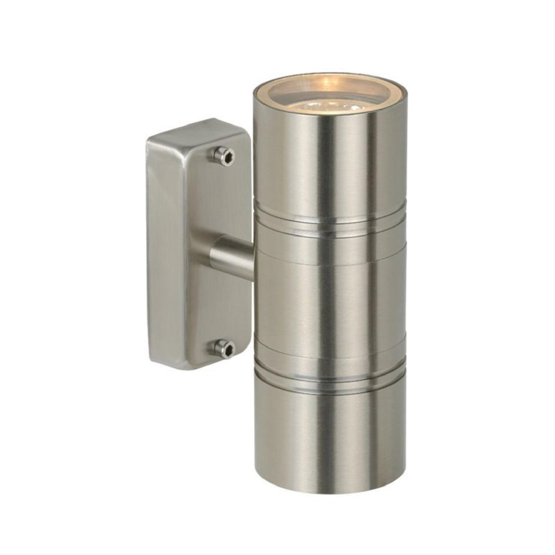 Applique d'extérieur 2 lumières métal argent H17cm