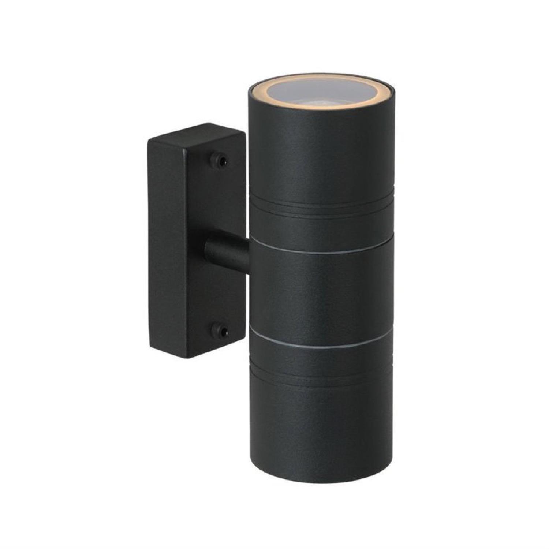 Applique d'extérieur 2 lumières métal noir H17cm