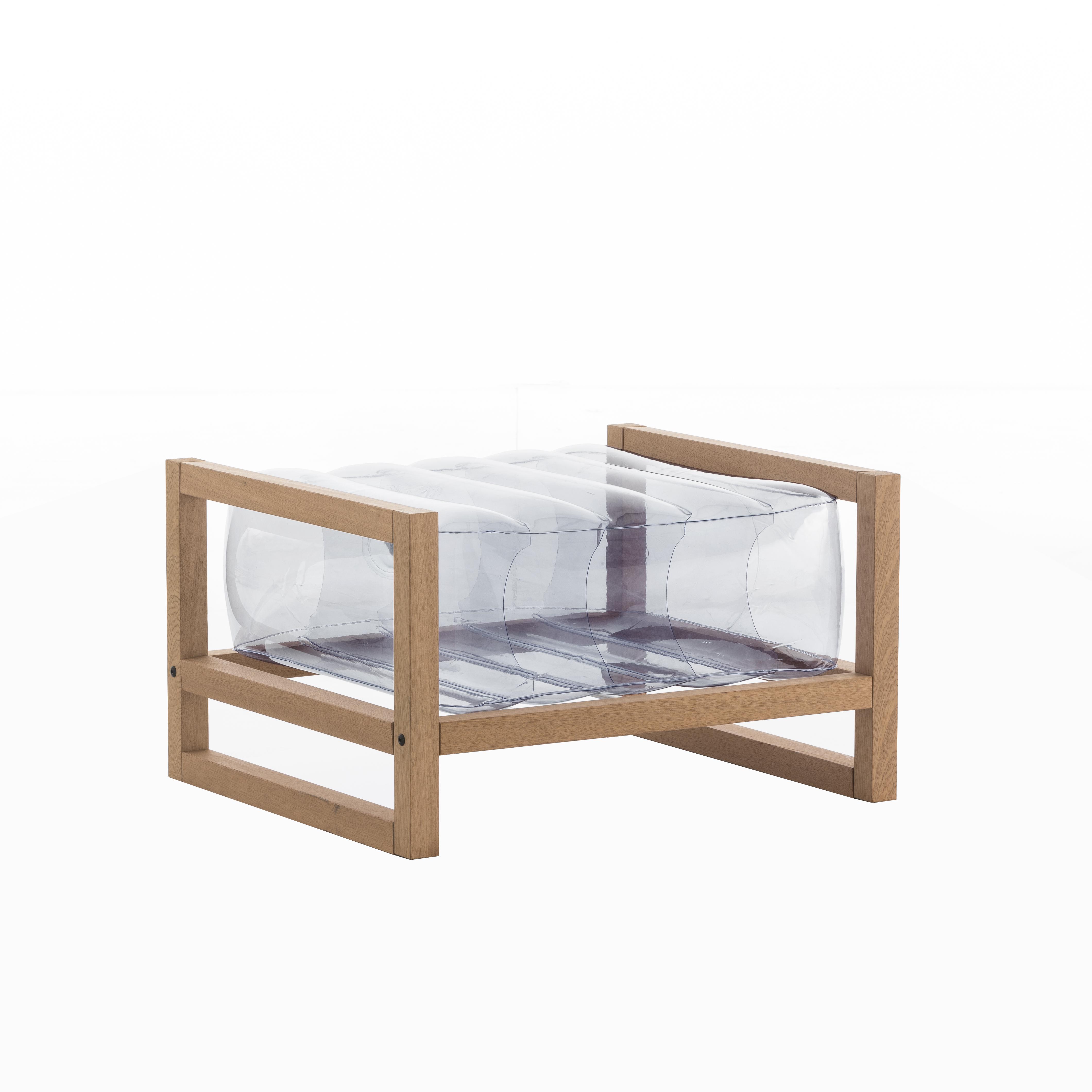 Pouf pvc transparent cadre en bois