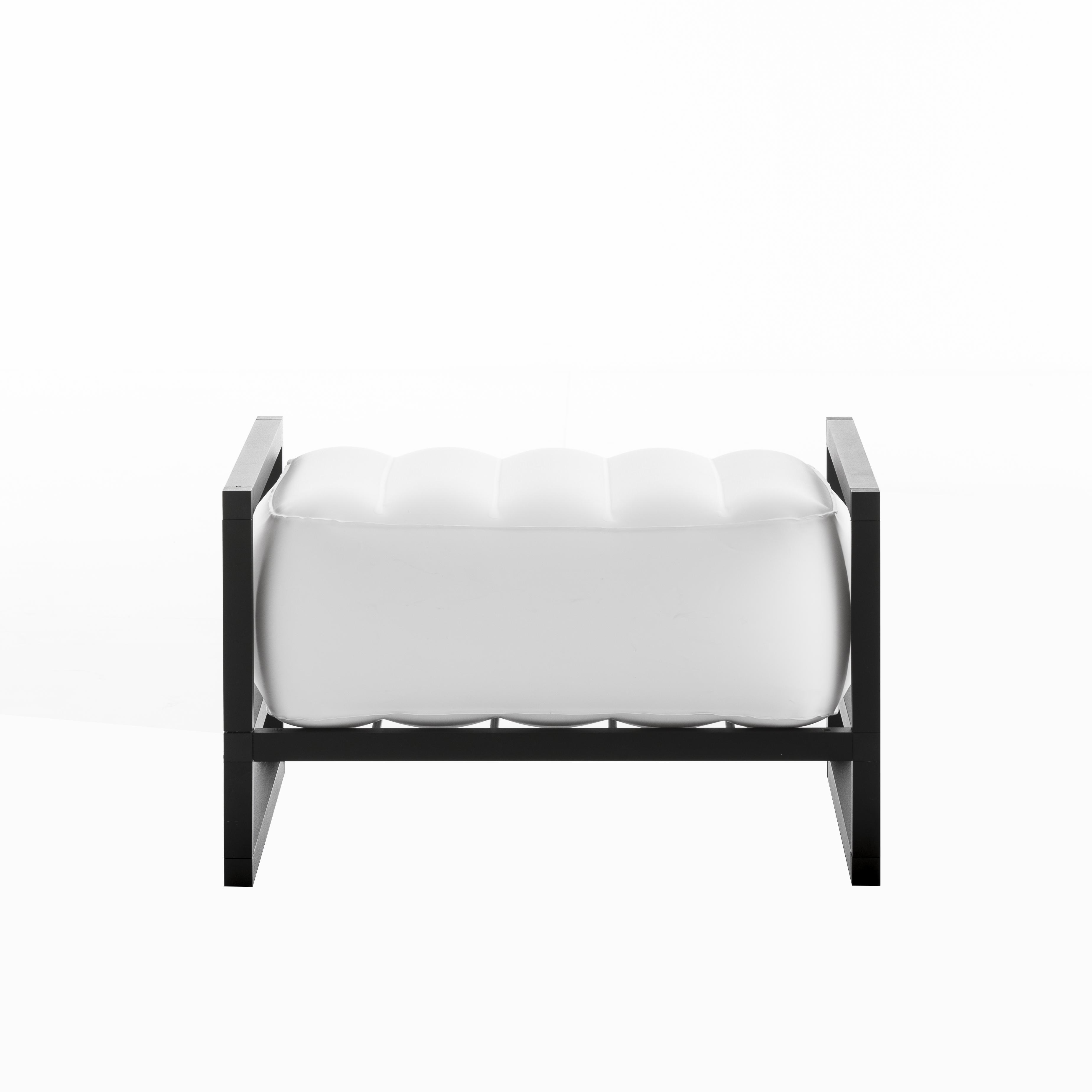Pouf pvc blanc cadre aluminium