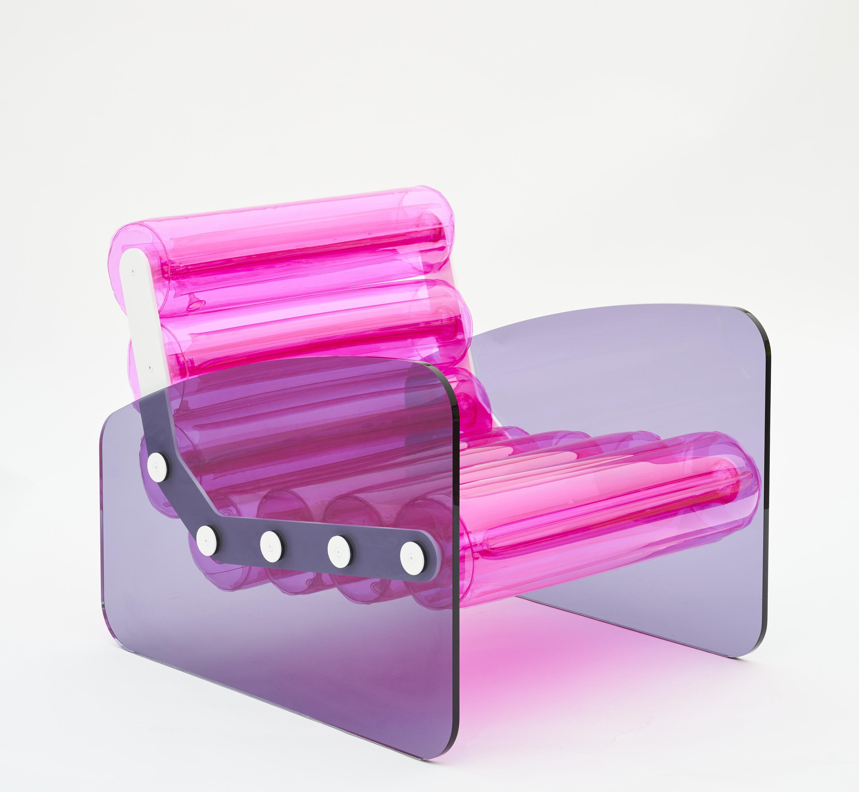 Pouf pvc rouge cadre en aluminium