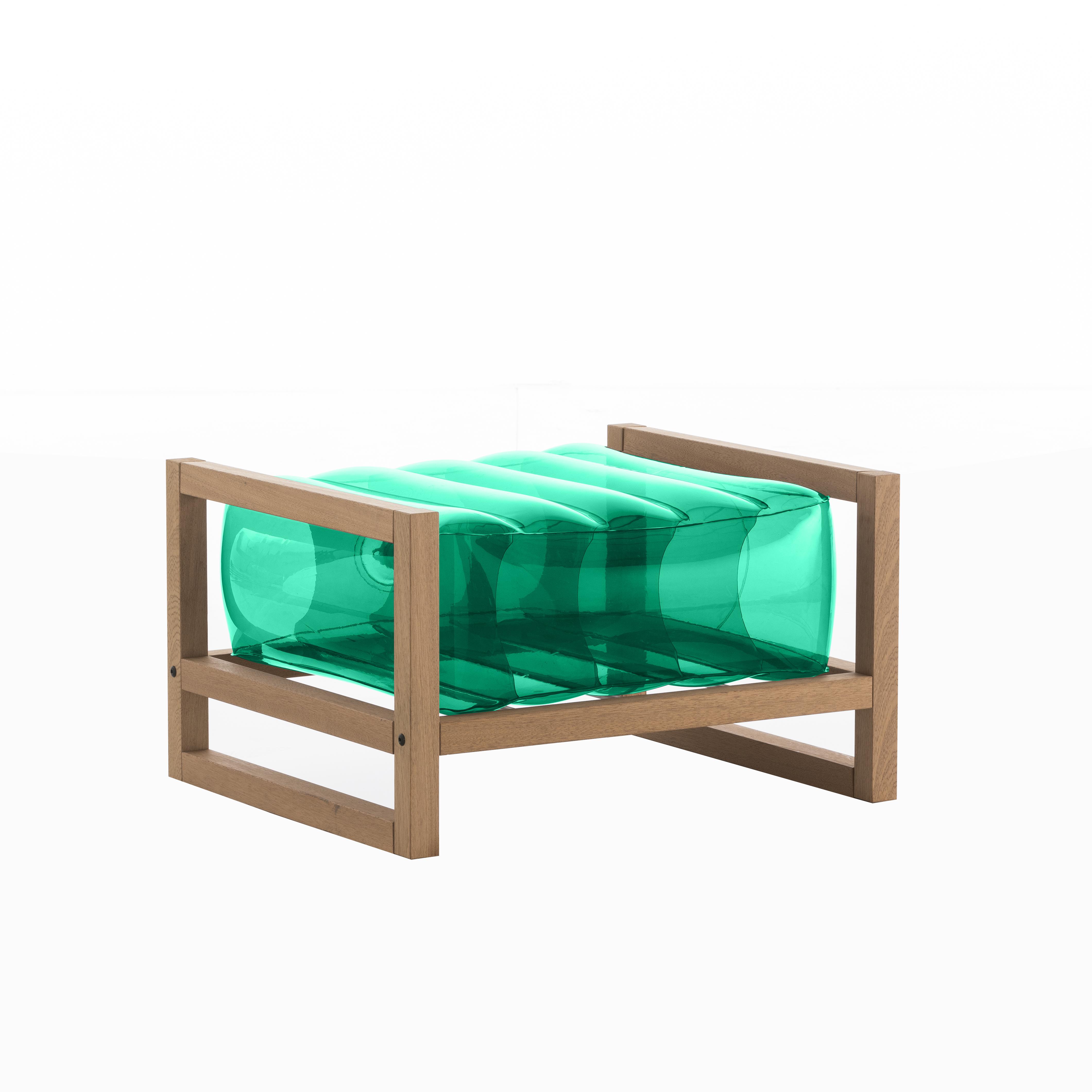 Pouf pvc vert cadre en bois