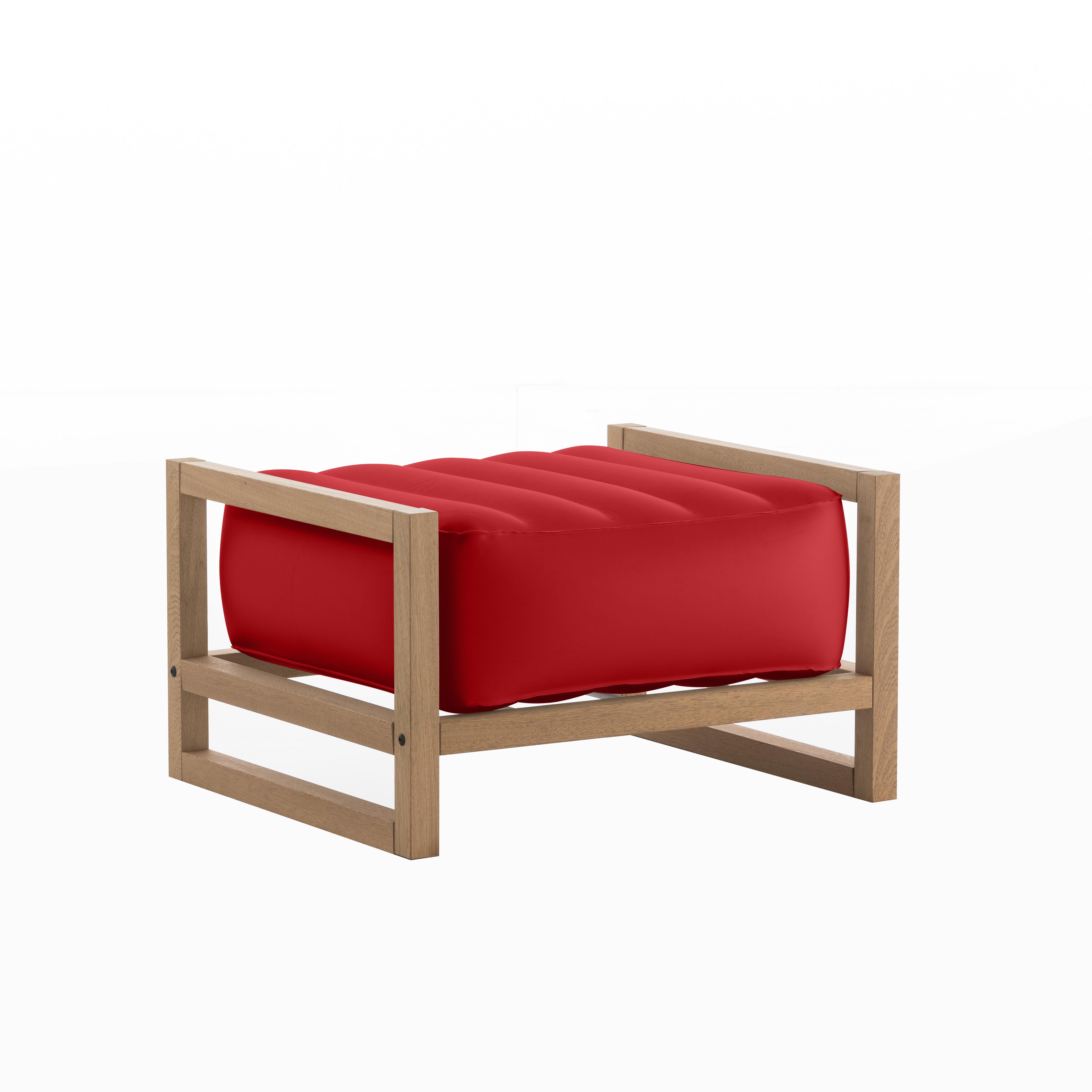 Pouf pvc rouge cadre en bois