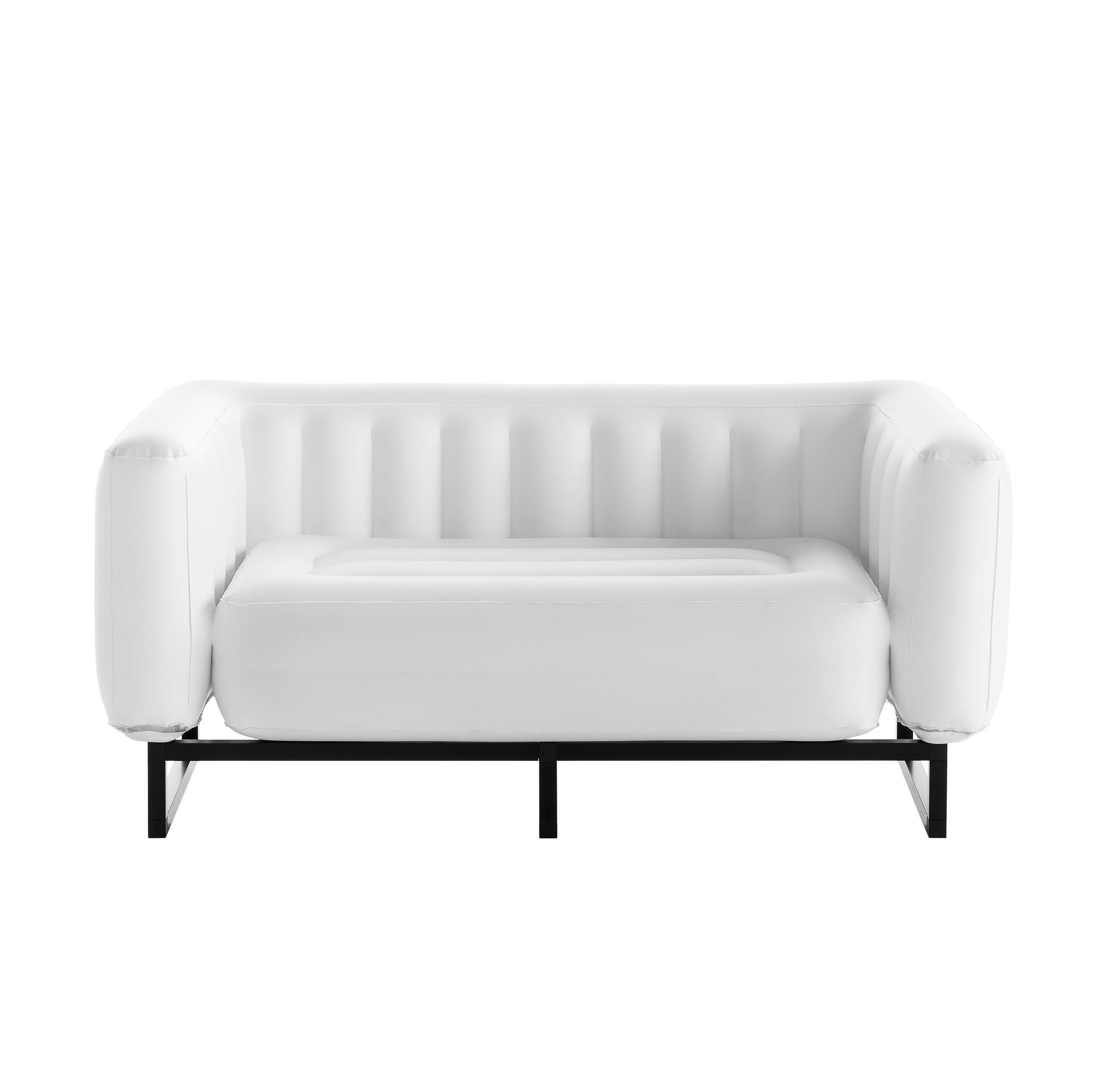 Canapé 2 places pvc blanc cadre en aluminium