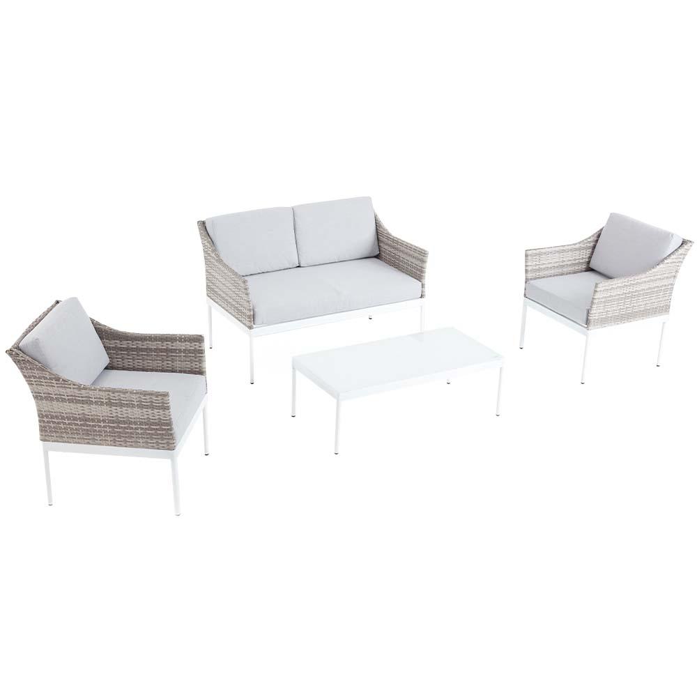 Salon de jardin bas 4 places en aluminium gris et blanc