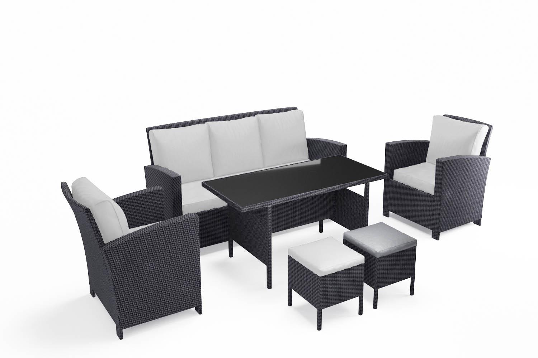 Salon de jardin 7 places en résine tressée noir et blanc