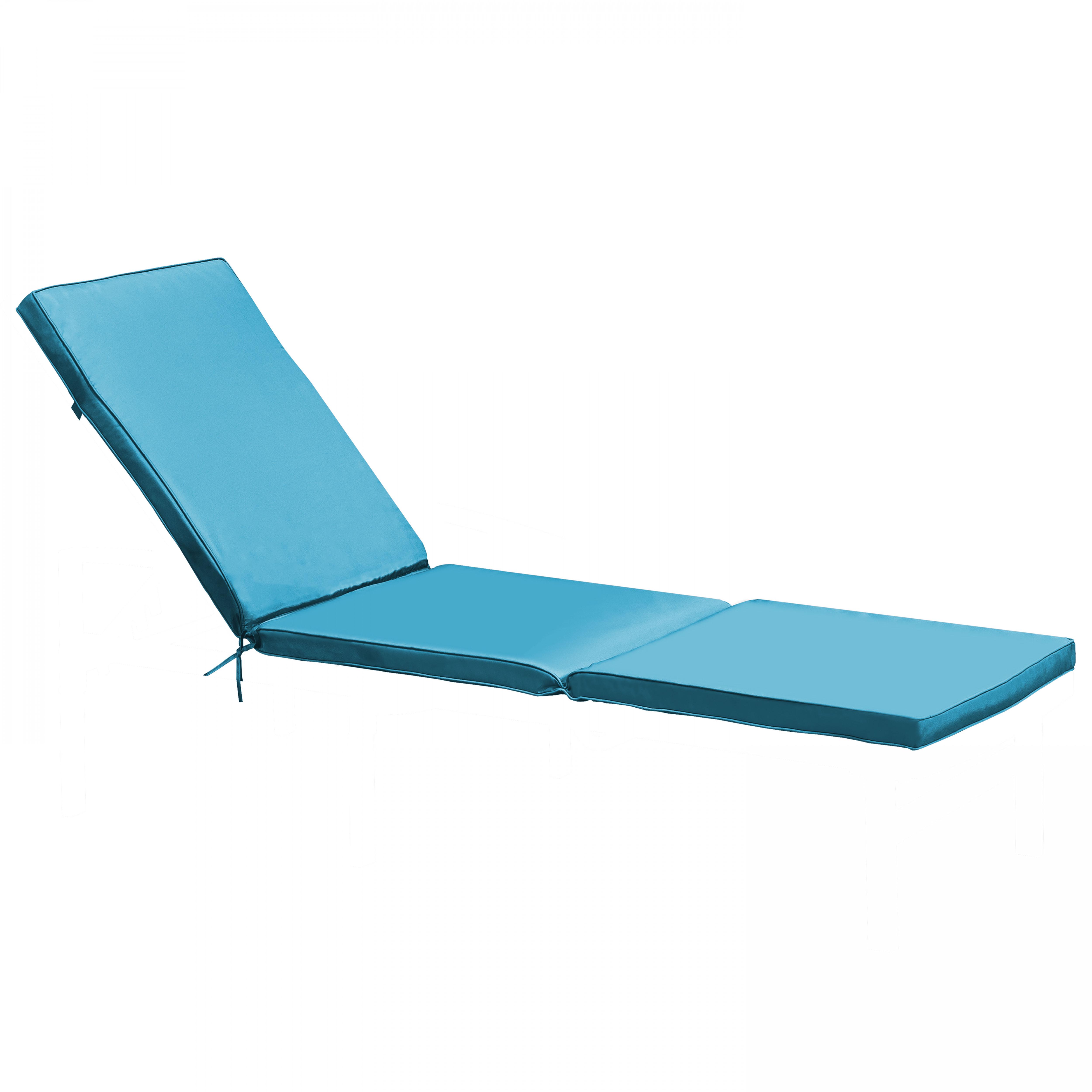 Coussin bain de soleil 1 place en polyester bleu