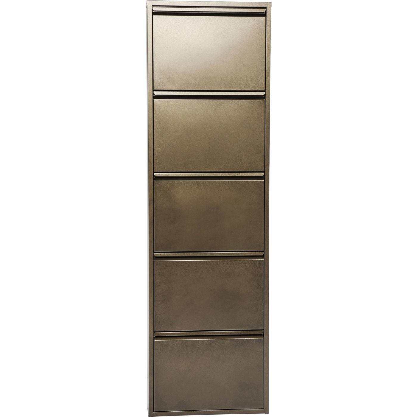 Casier à chaussures 5 tiroirs en acier bronze