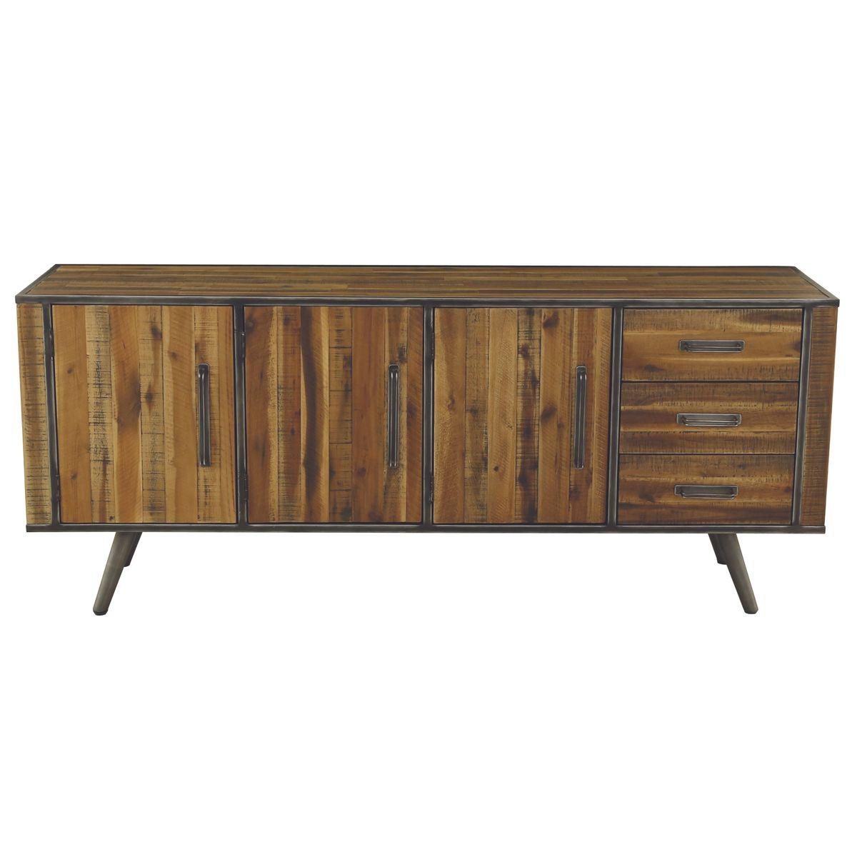 Buffet enfilade 3 portes 3 tiroirs bois et métal