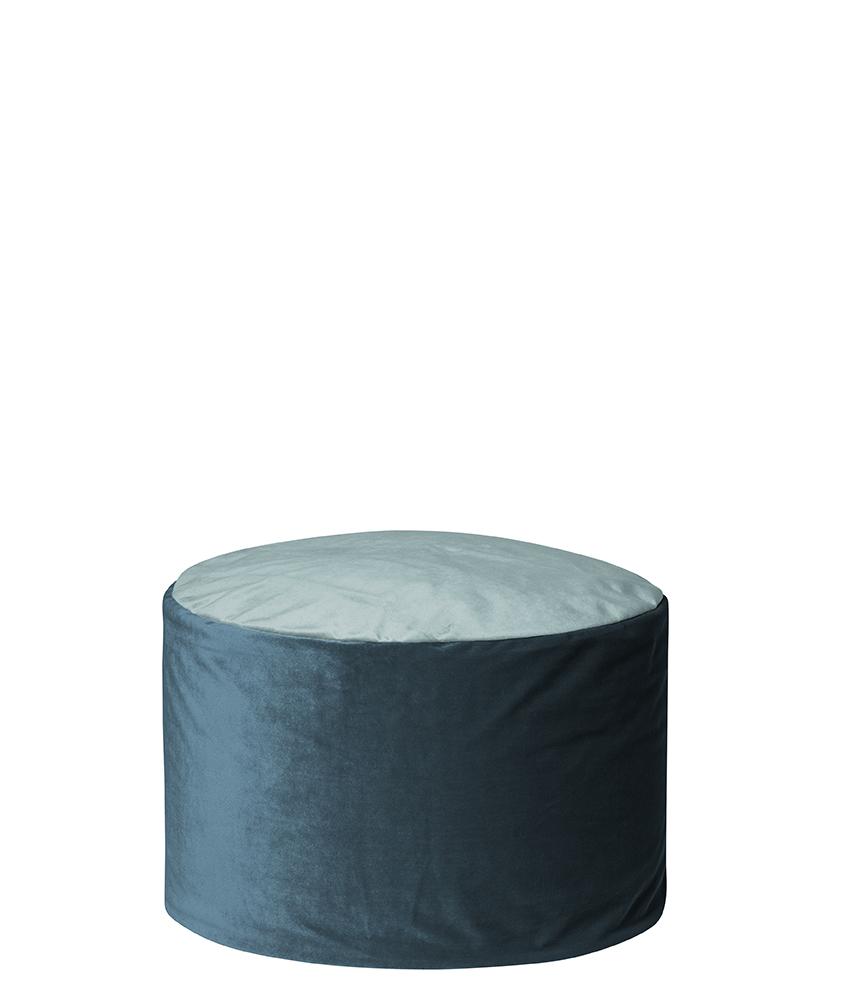 Pouf rond d'intérieur en velours bleu pétrole