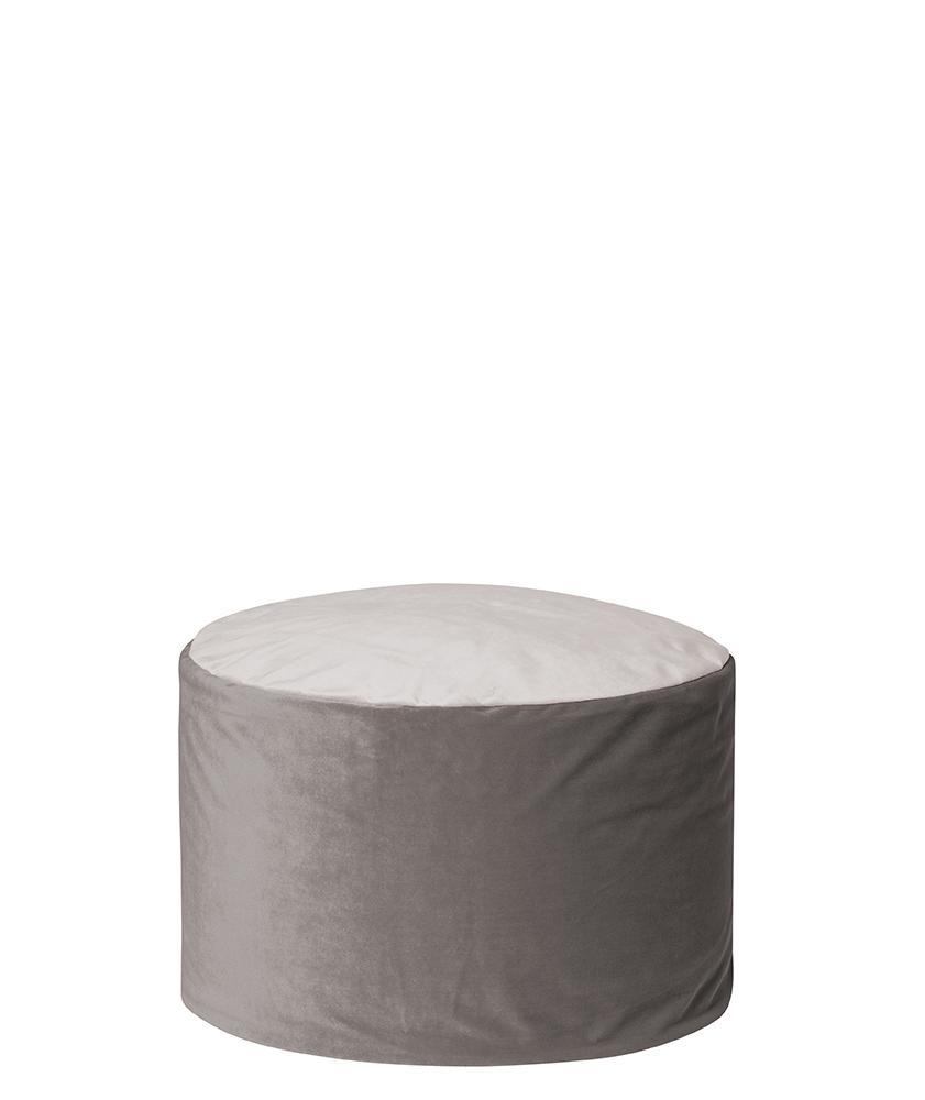 Pouf rond d'intérieur en velours gris