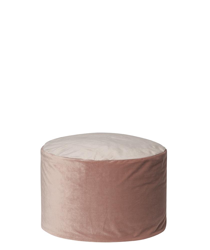 Pouf rond d'intérieur en velours rose