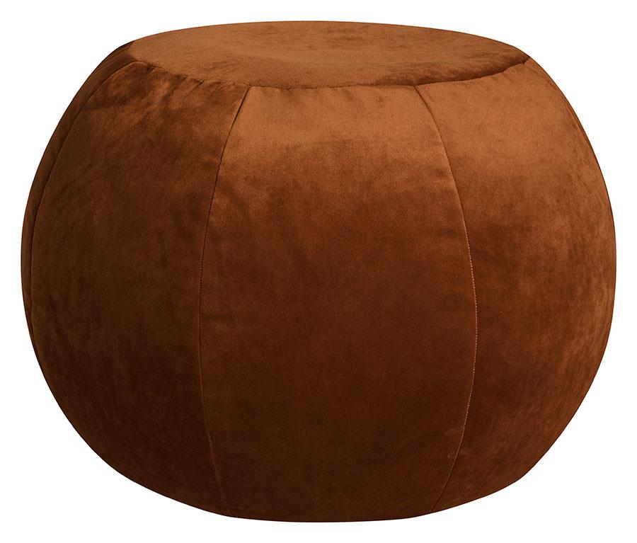 Pouf rond d'intérieur en velours cuivre