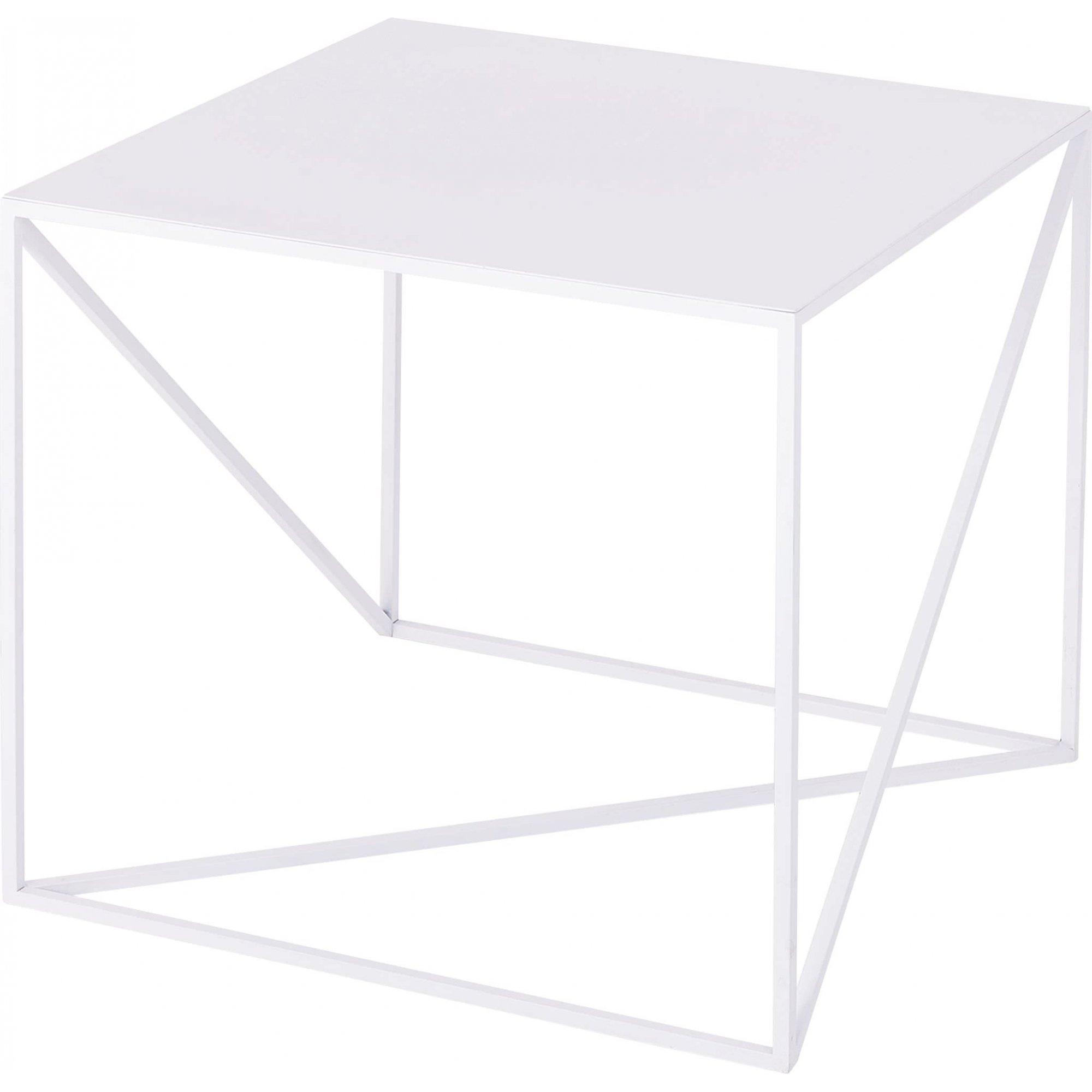 maison du monde Table d'appoint carré en métal blanc