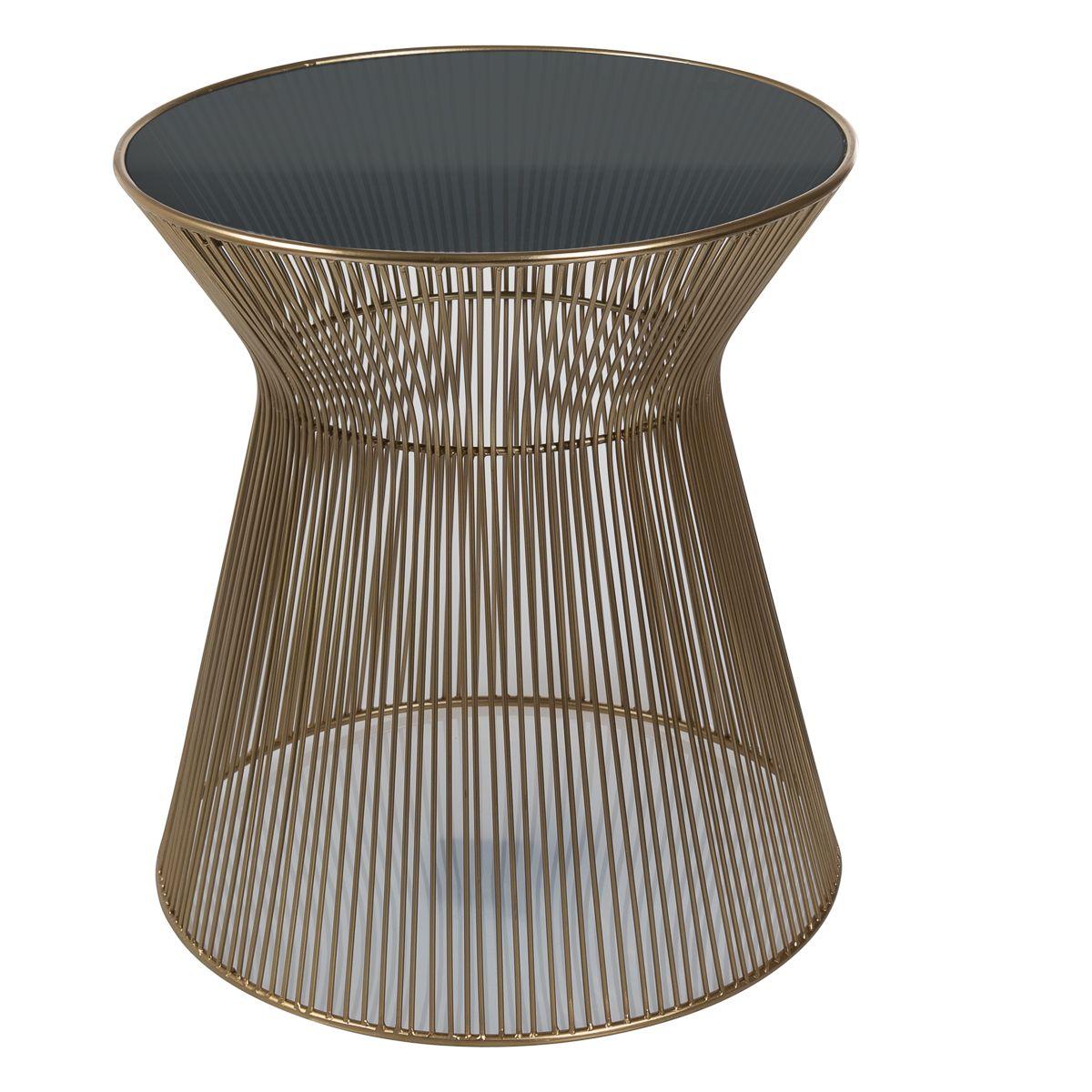 Bout de canapé en métal et verre trempé toria