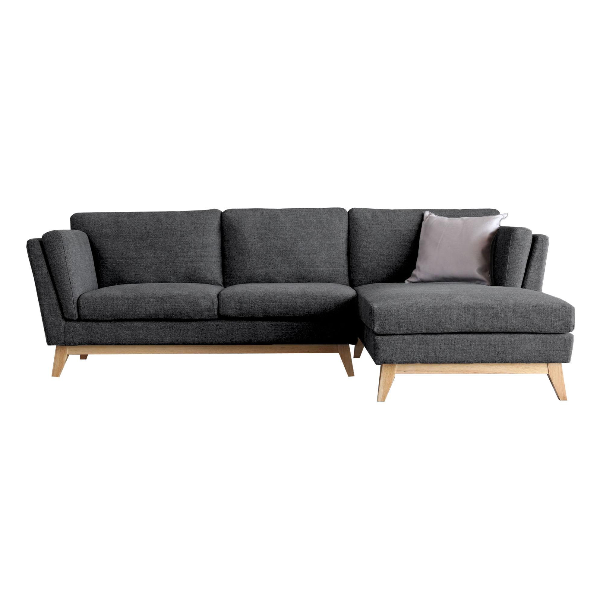 Canapé 3 places méridienne à droite et pieds bois gris foncé