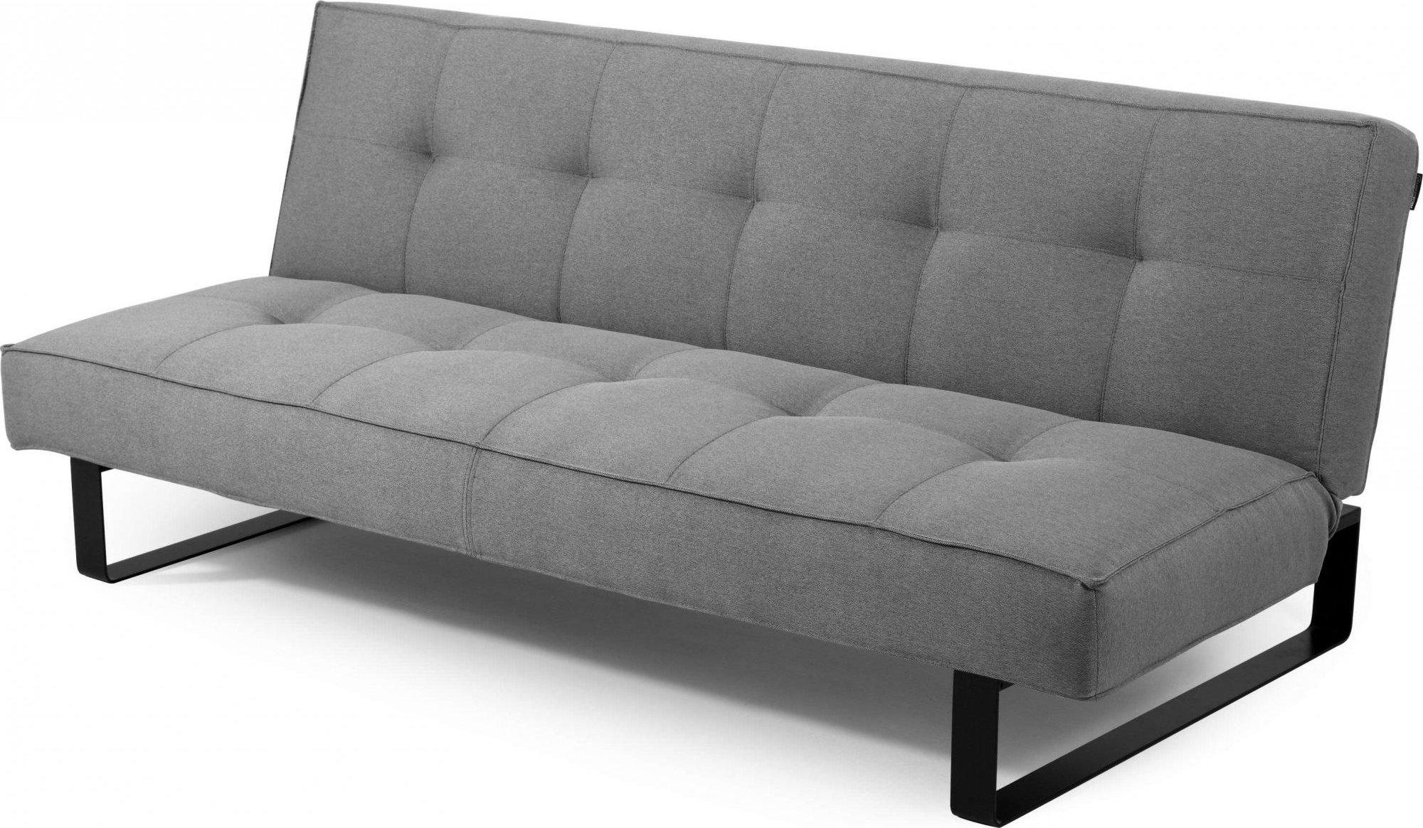 Canapé-lit tissu 2 places gris clair h35cm