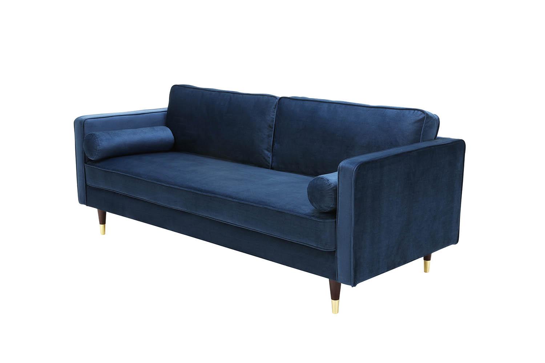 Canapé 3 places en velours bleu