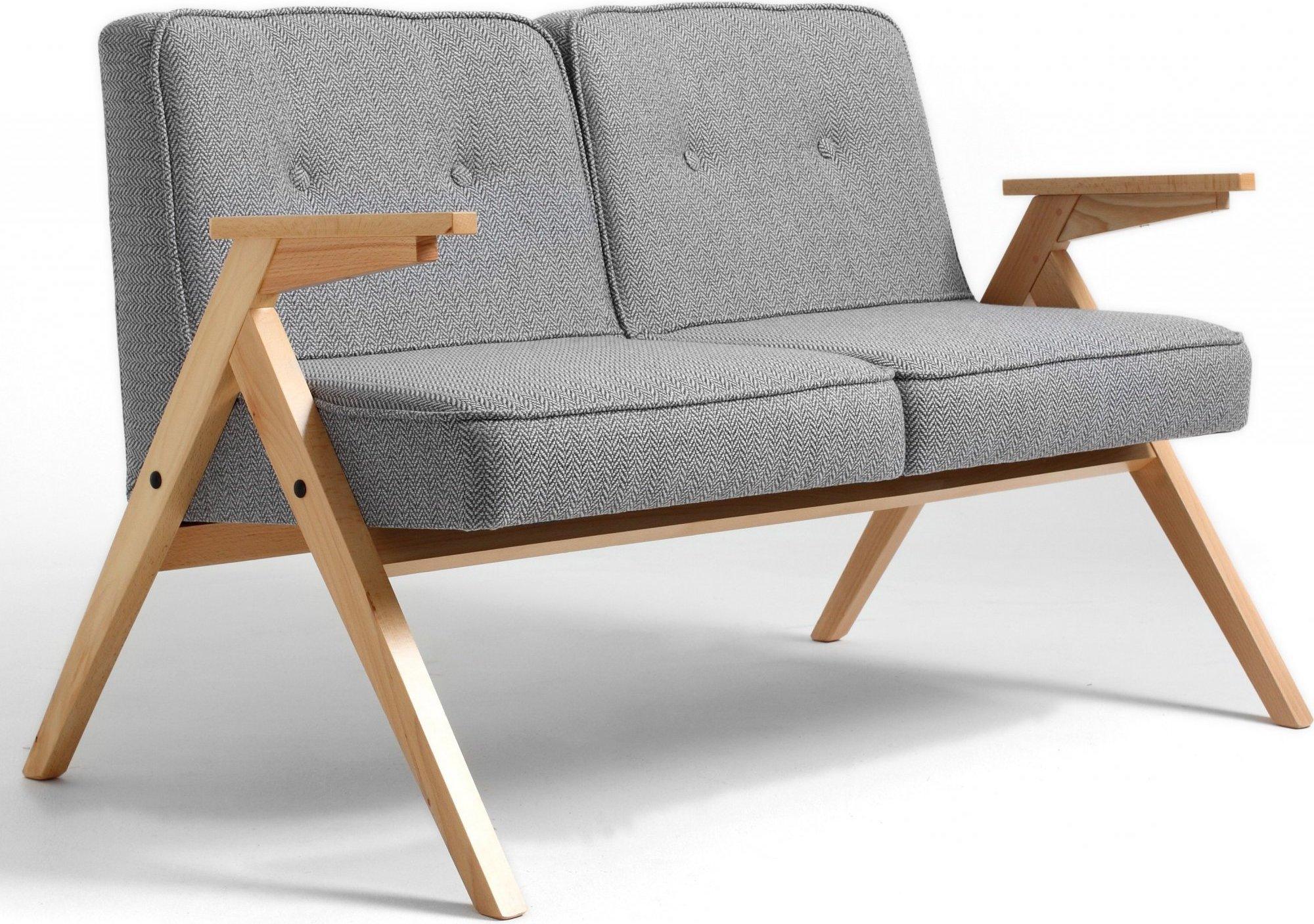 Canapé 2 places tissu gris bois clair h40cm