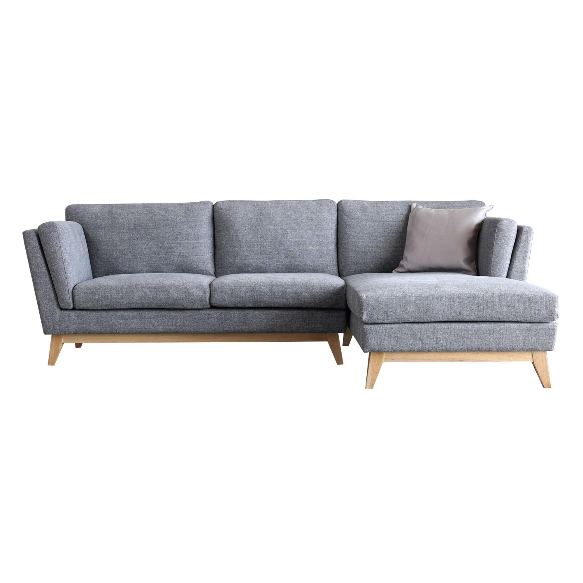 Canapé 3 places méridienne à droite et pieds bois gris clair