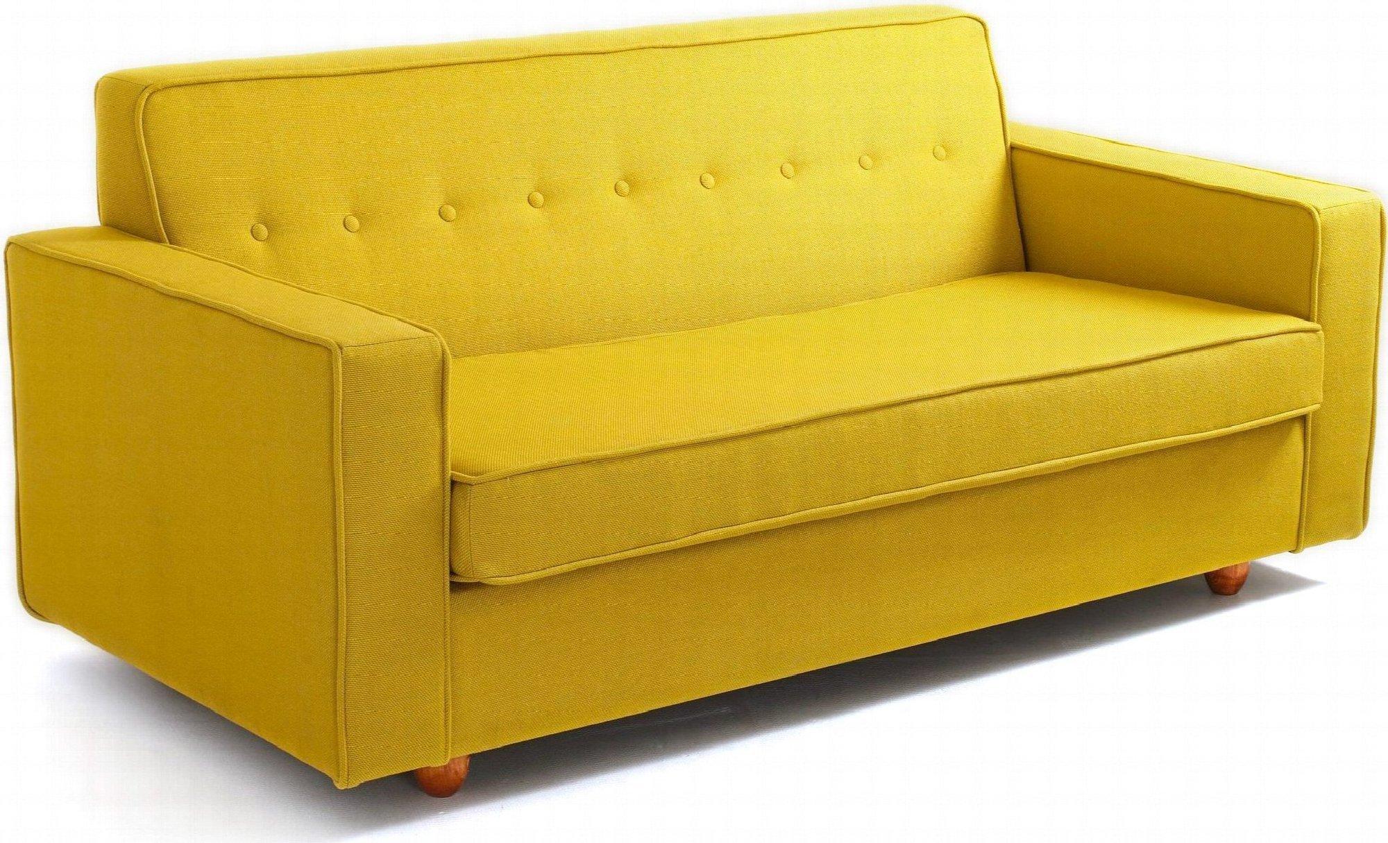 Canapé-lit 2 places tissu jaune h39cm