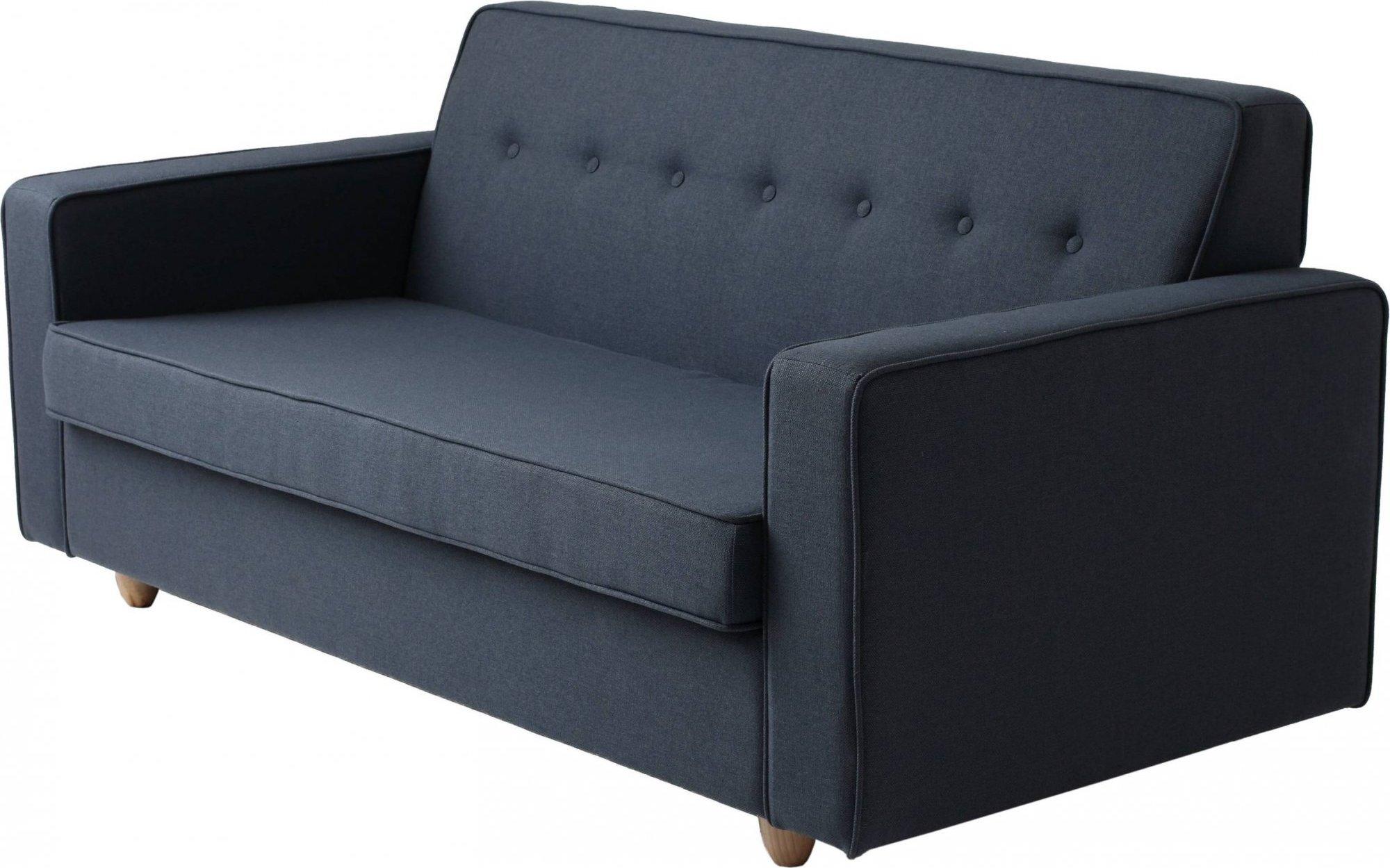 Canapé-lit 2 places tissu bleu encre h39cm