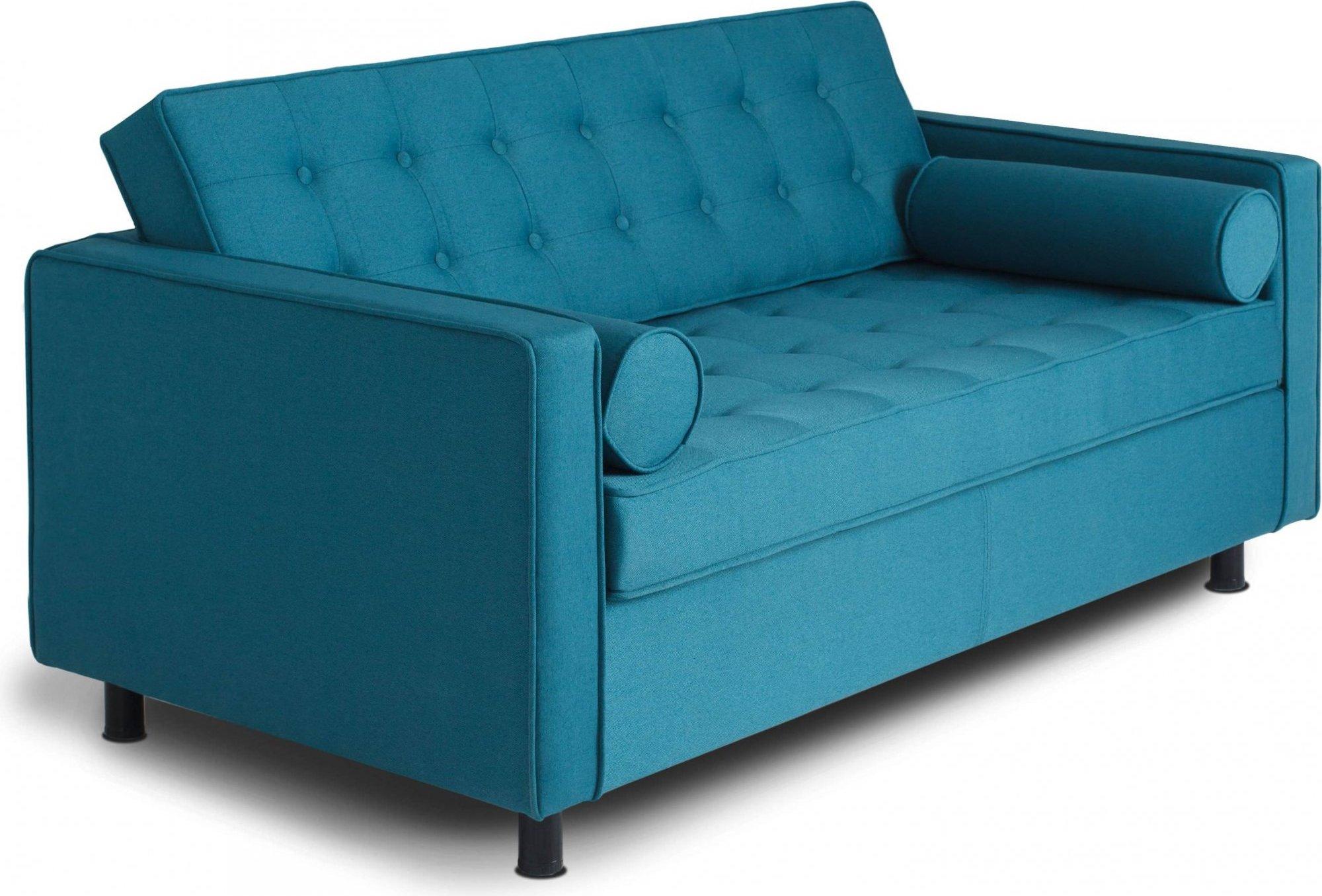 Canapé 2 places tissu bleu tropical h34cm