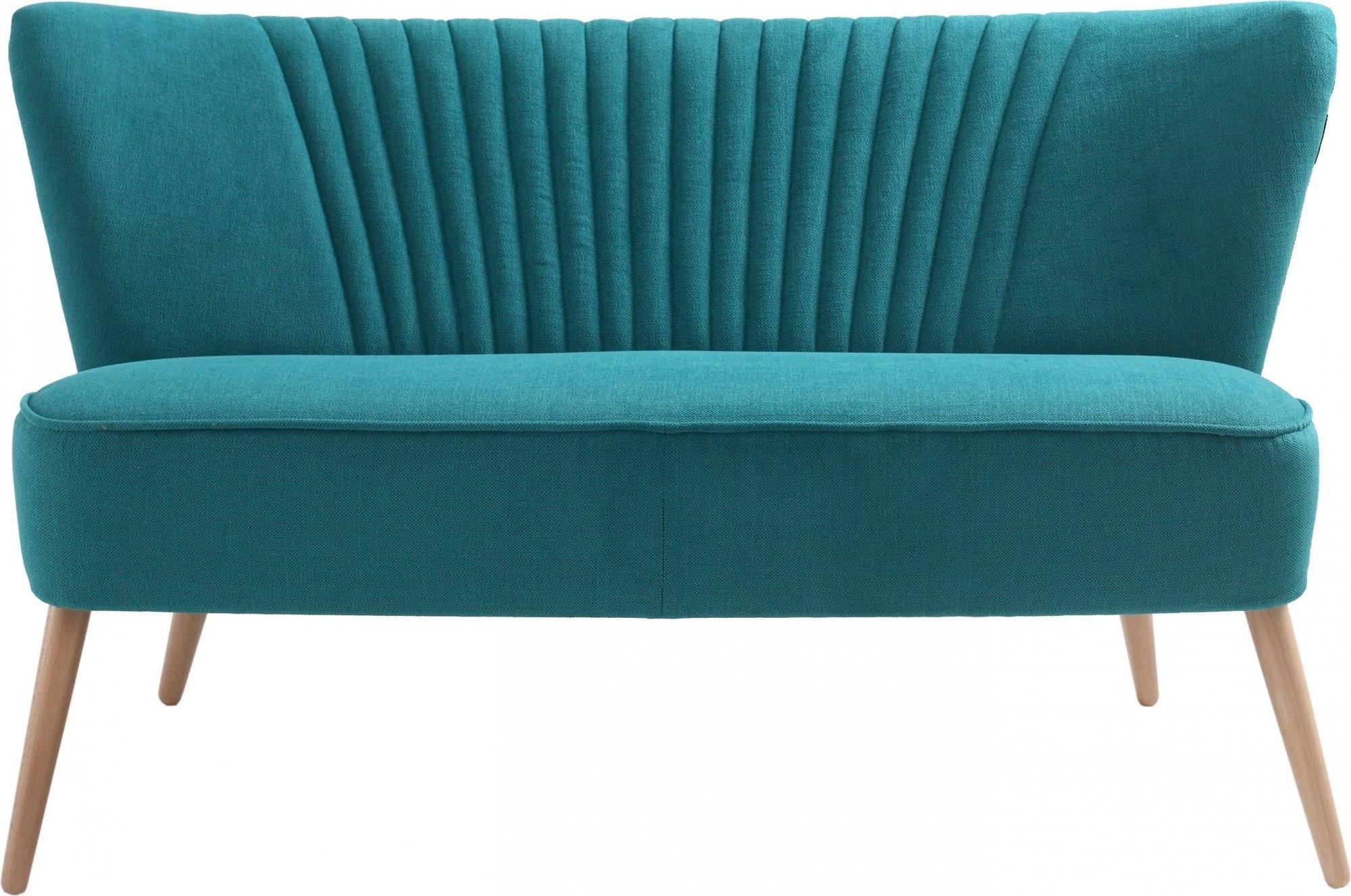 Canapé 2 places tissu sarcelle h45cm
