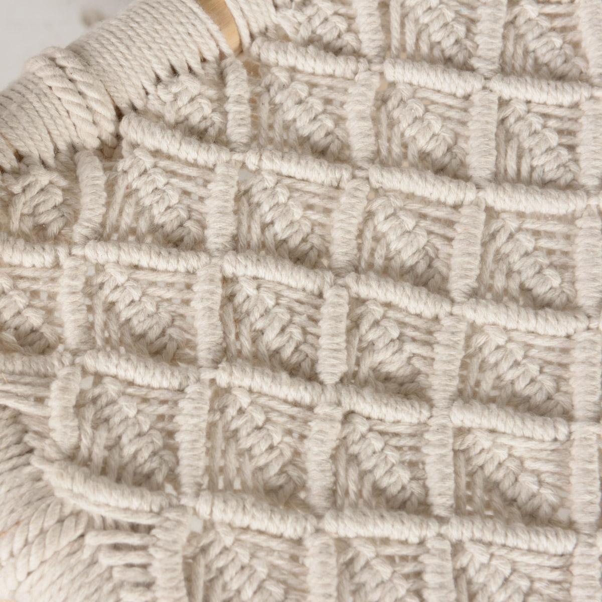 Tabouret en teck et cordage blanc