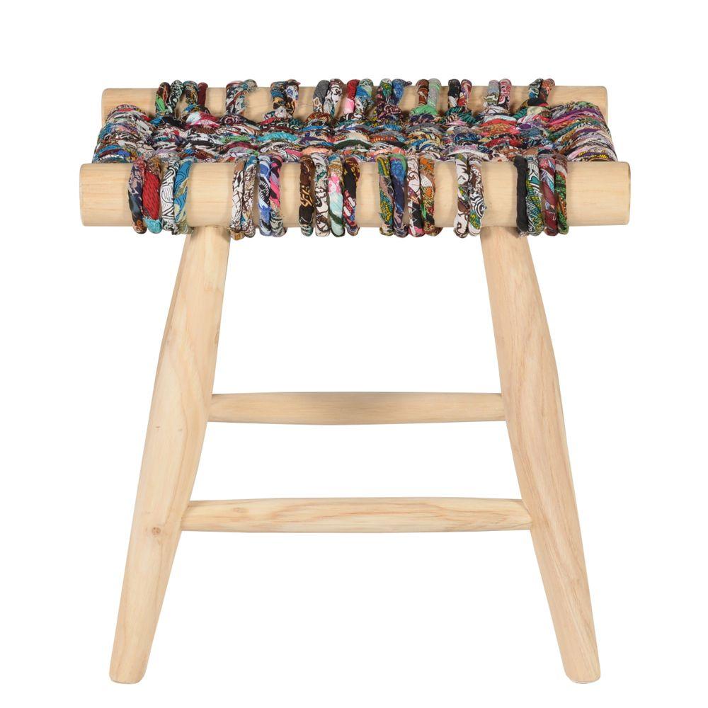 Tabouret en teck et cordage multicolor