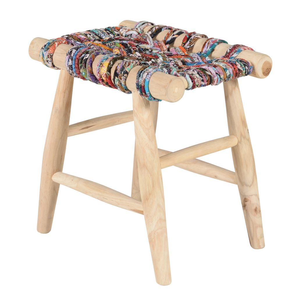 Tabouret en teck et cordage coton multicolore