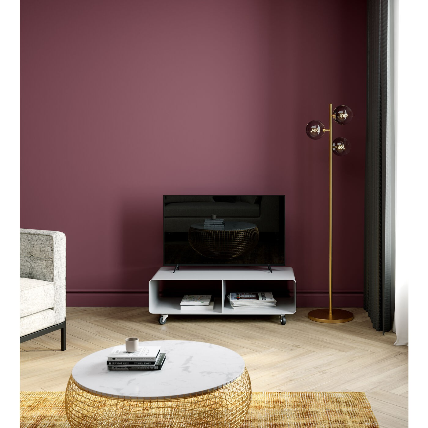 Meuble TV en acier blanc