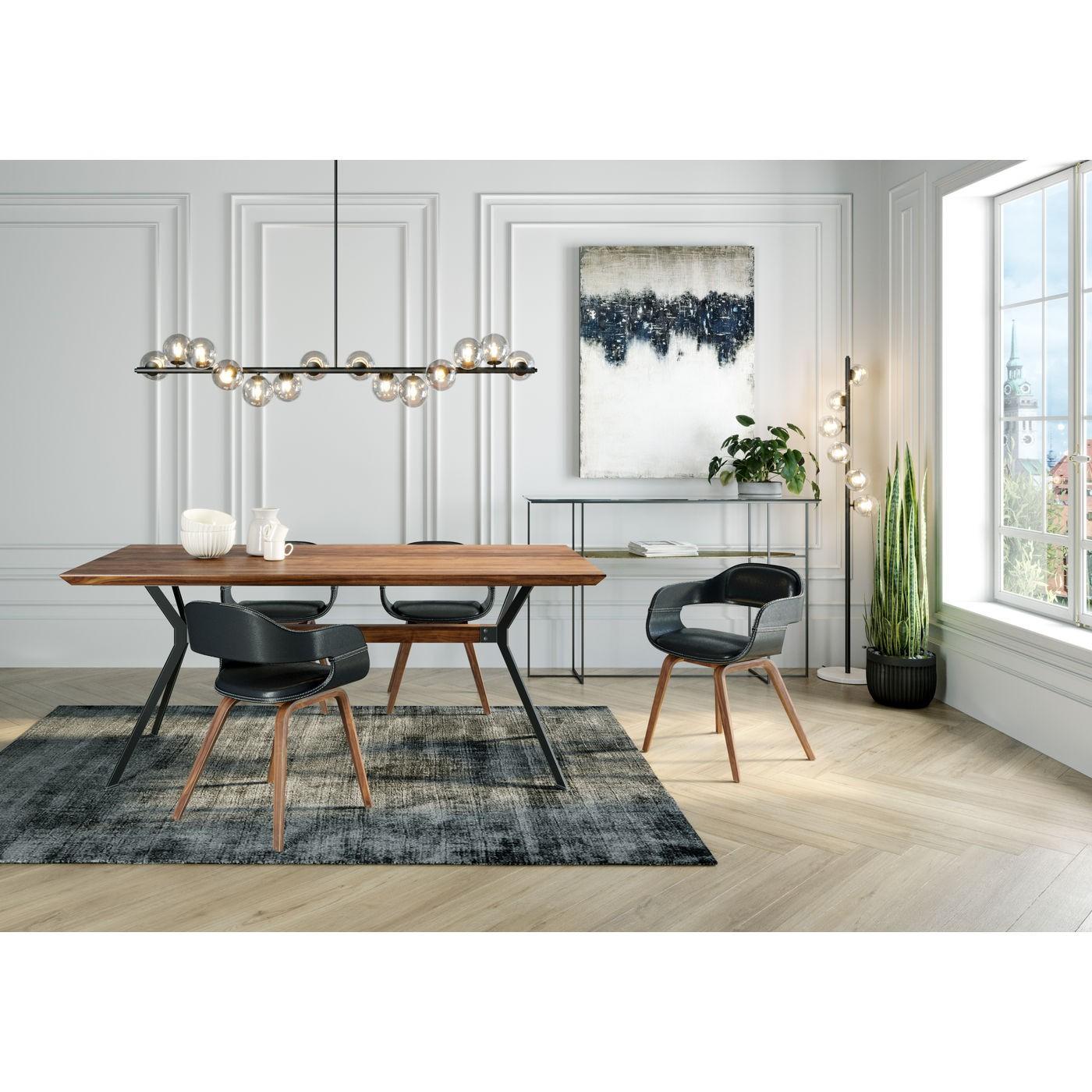 Chaise avec accoudoirs noire et peuplier laqué