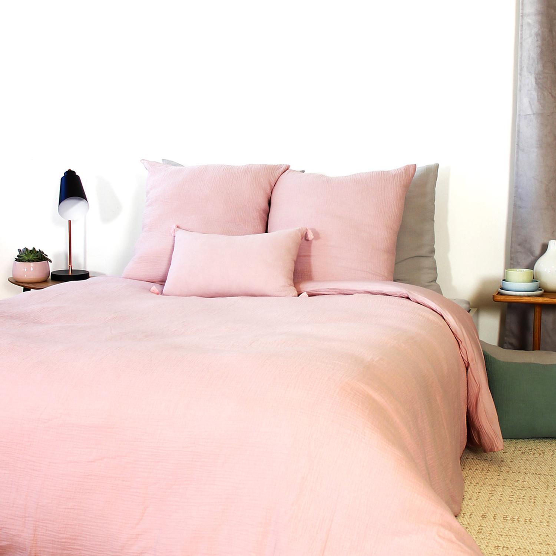 Parure de lit en coton rose 240x260