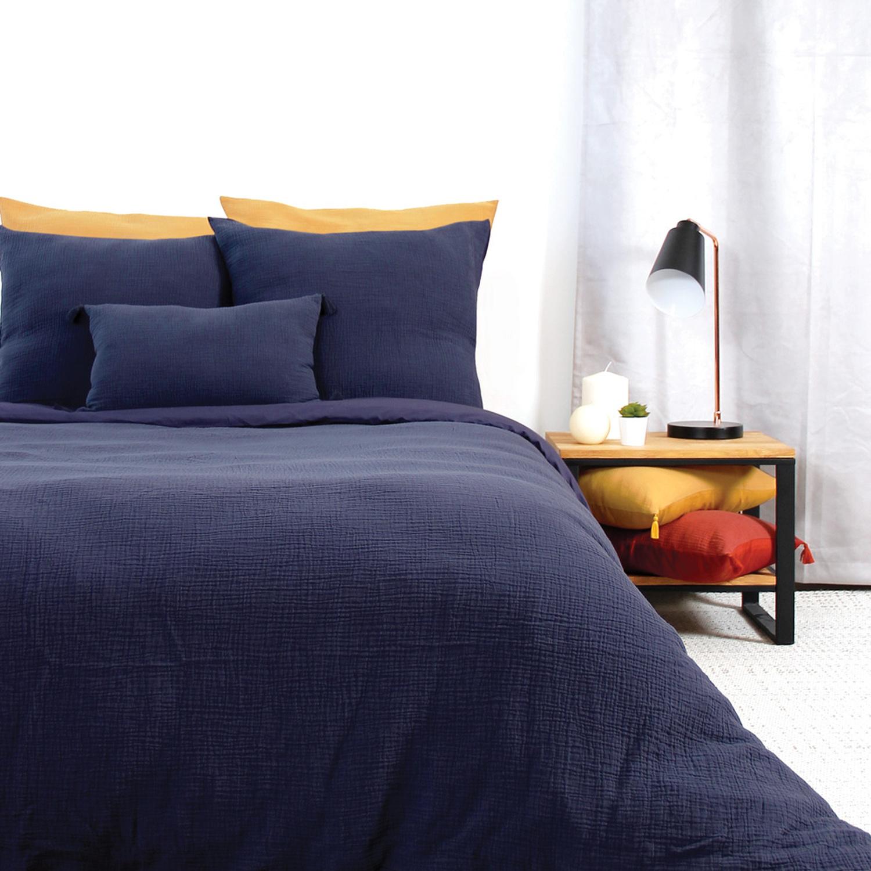 Parure de lit en coton bleu 240x260