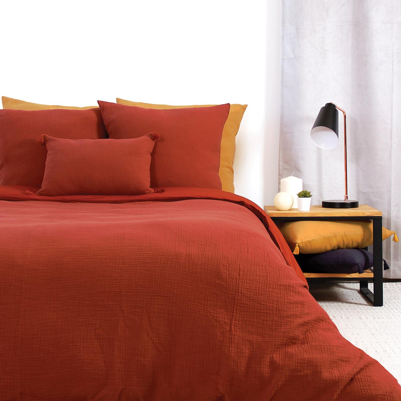 Parure de lit coton ocre 220x240 cm