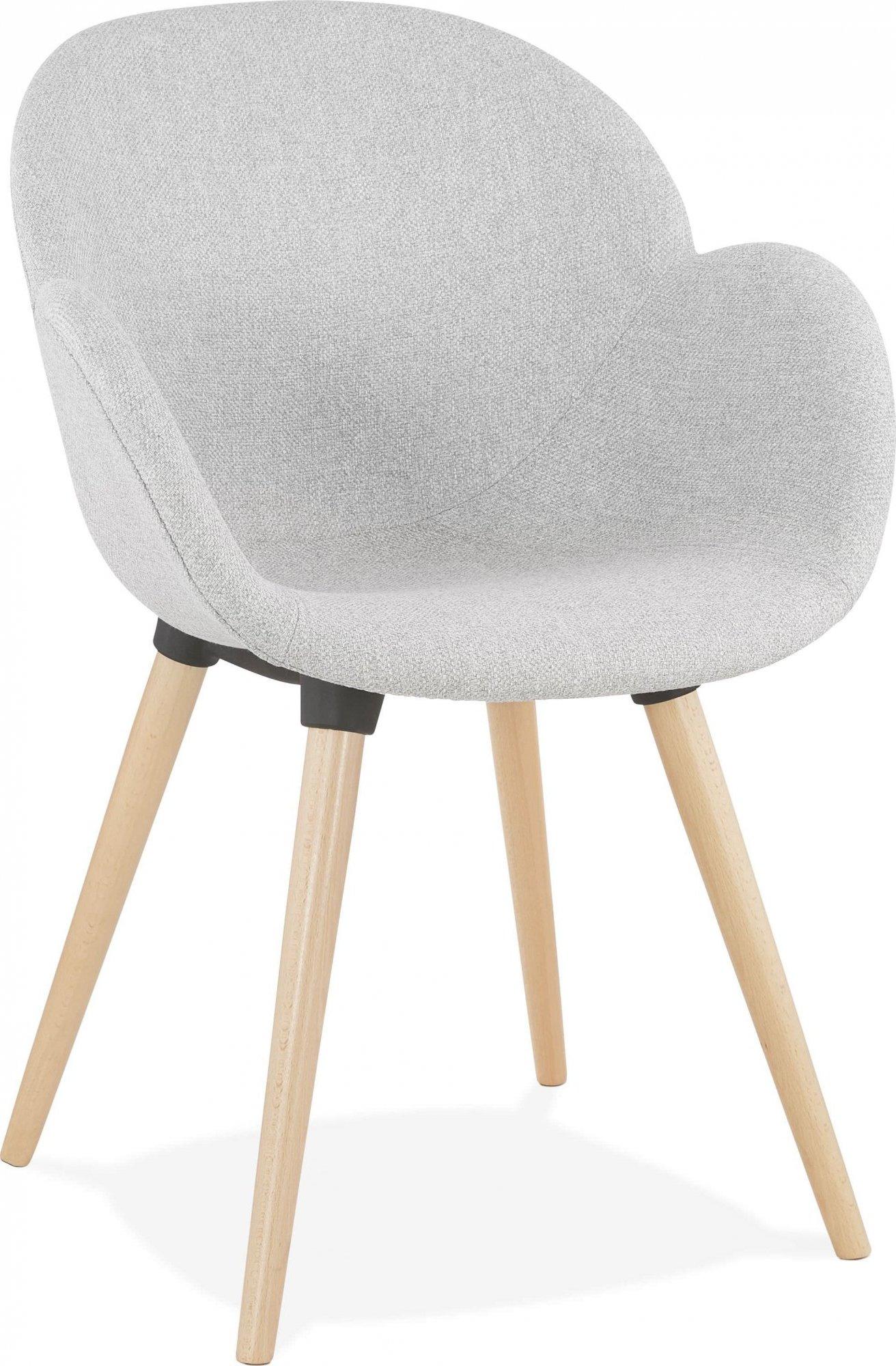 Fauteuil design rembourré tissu gris clair pieds bois
