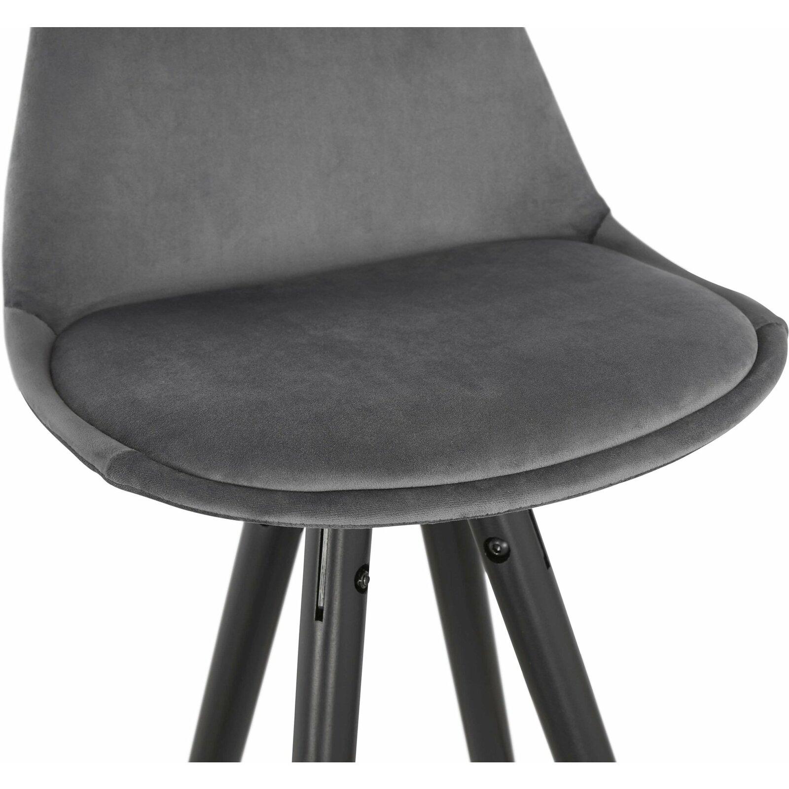 Tabouret de bar design bois noir et velours gris h97cm