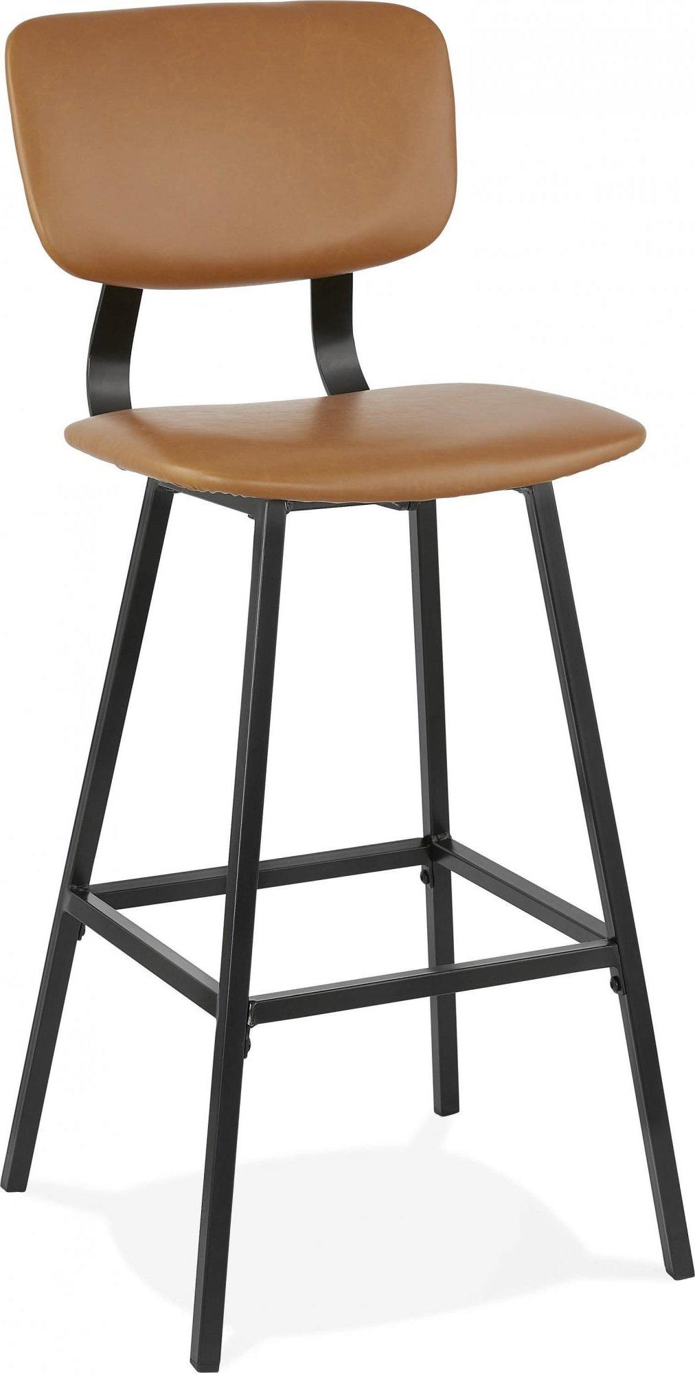 Tabouret de bar tradition assise rembourrée imitation marron