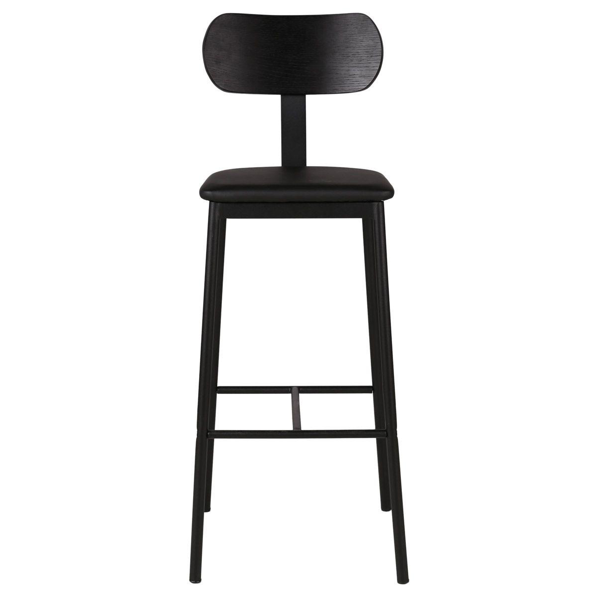 Chaise de bar bois en chêne plaqué et tissu  structure métal  noir