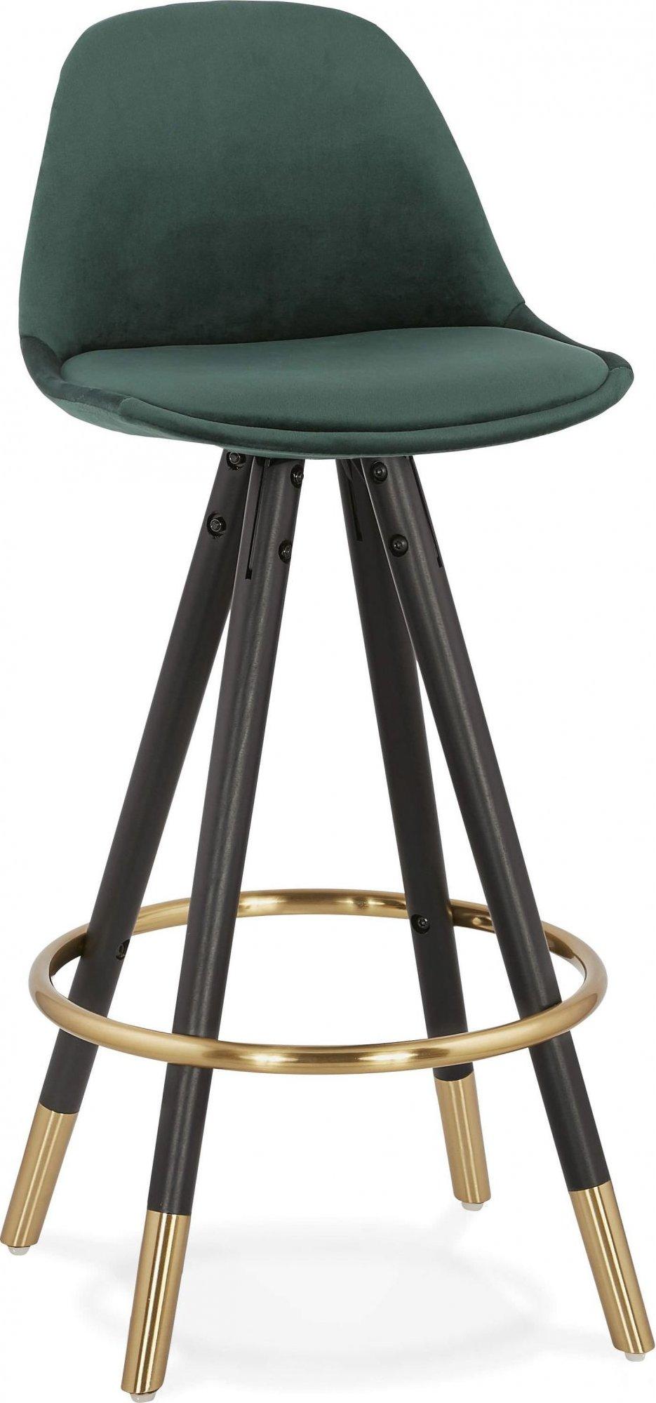 Tabouret de bar design bois noir et velours vert h87cm