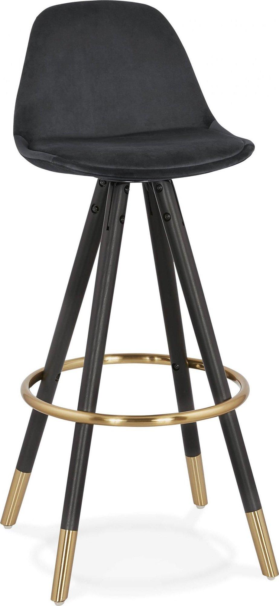 Tabouret de bar design bois noir et velours noir h97cm