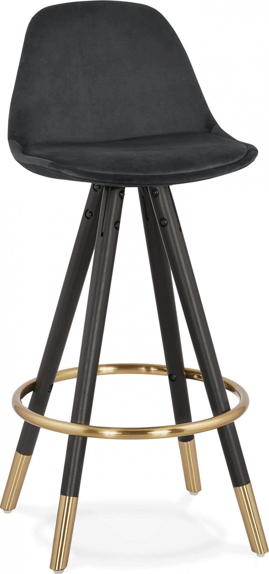 Tabouret de bar design bois noir et velours noir h87cm