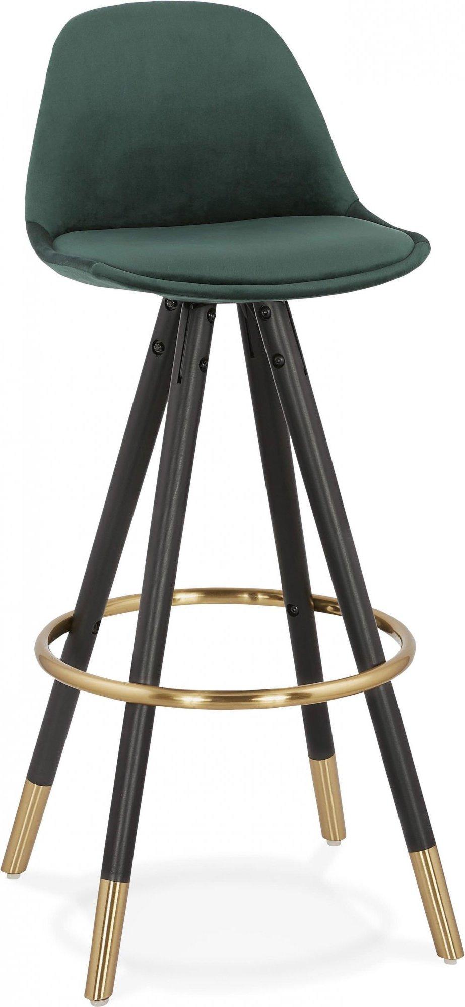 Tabouret de bar design bois noir et velours vert h97